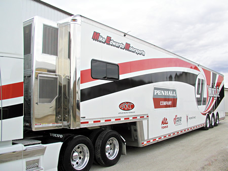 Mike and Lisa Edwards 2010 T&E 56' Pro Stock Semi Trailer - Click to Launch Photo Gallery